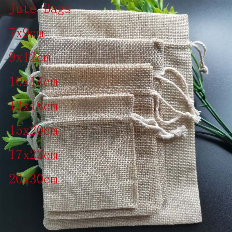 20Pcs/Lot Jute Drawstring Bags Jewelry Packaging Bags Cotton Linen Gift Pouch Christmas Wedding Party Candy Storage Bag Diy