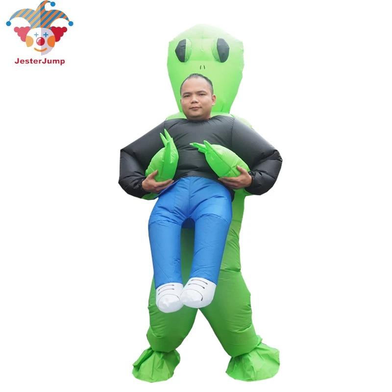 Costume de monstre gonflable effrayant vert Alien Cosplay Halloween fête Party