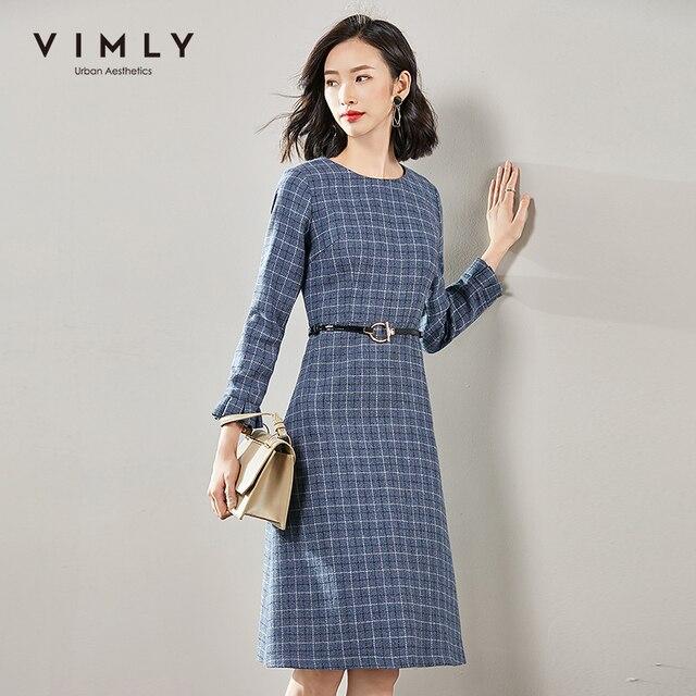 Vimly 2020 Autumn Winter Plaid Elegant Dress Office Lady O-neck High Waist Belt Zipper Knee Length Female A-line Dresses 95879 3