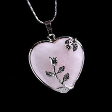 1PC Natural Crystal Rose Quartz Heart Pendant Mineral Jewelry Couple Decoration Christmas DIY Gifts Accessories Men