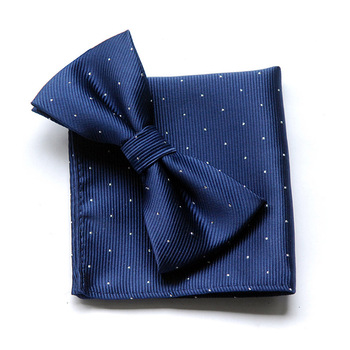 Men's Square Scarf Bow Tie Combination Suit Pocket Towel Monochrome Bow Tie Polyester with Men's Bow Tie Handkerchief casual twill stripe pattern tie pocket square bow tie