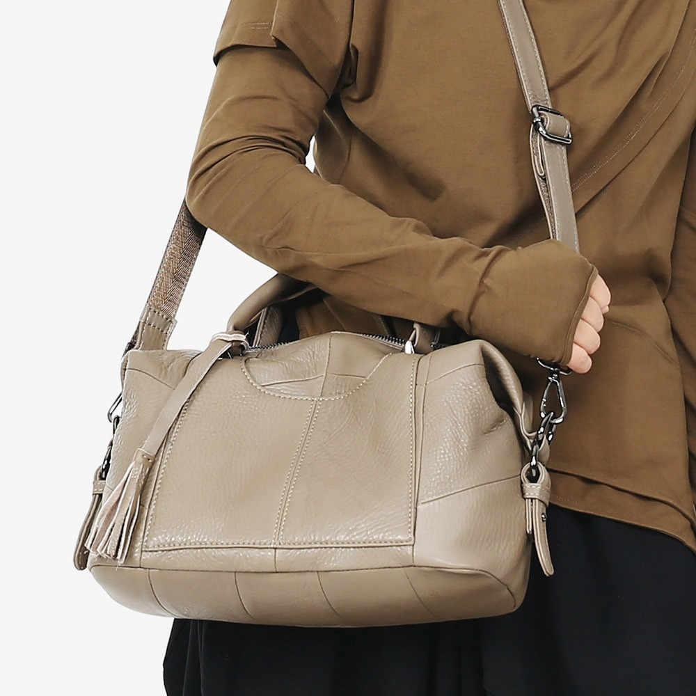 MJ женская сумка из натуральной кожи, женская сумка-тоут из натуральной коровьей кожи, Женская Большая вместительная сумка через плечо, сумки через плечо для женщин