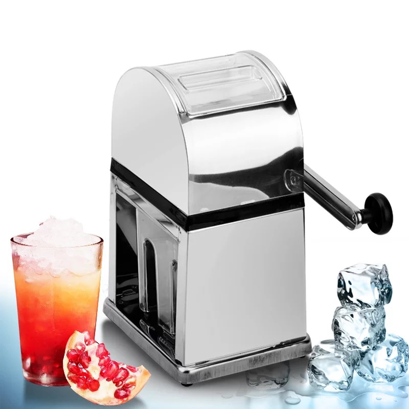 Stainless Steel Ice Crusher Mini Ice Shavers Chopper Manual Snow Cone Smoothie Maker Ice Block Breaking Machine Slush Machine