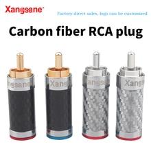 Xangsane 4 sztuk czarny/biały węgiel włókna pozłacane i posrebrzane hifi audio wtyczka RCA dla DIY sygnał kabel zasilający
