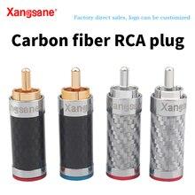 Xangsane 4PCS spina RCA audio hifi audio placcata in oro bianco/nero in fibra di carbonio per cavo di alimentazione del segnale fai da te