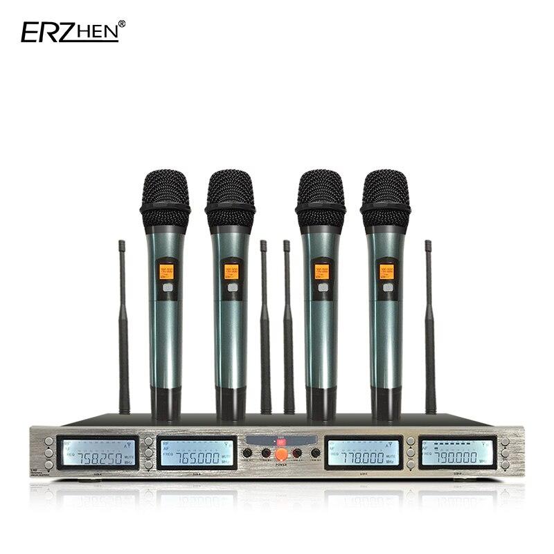 Professional Wireless Microphone System 4 Handheld Microphone Karaoke OK Household KTV Stage Performances