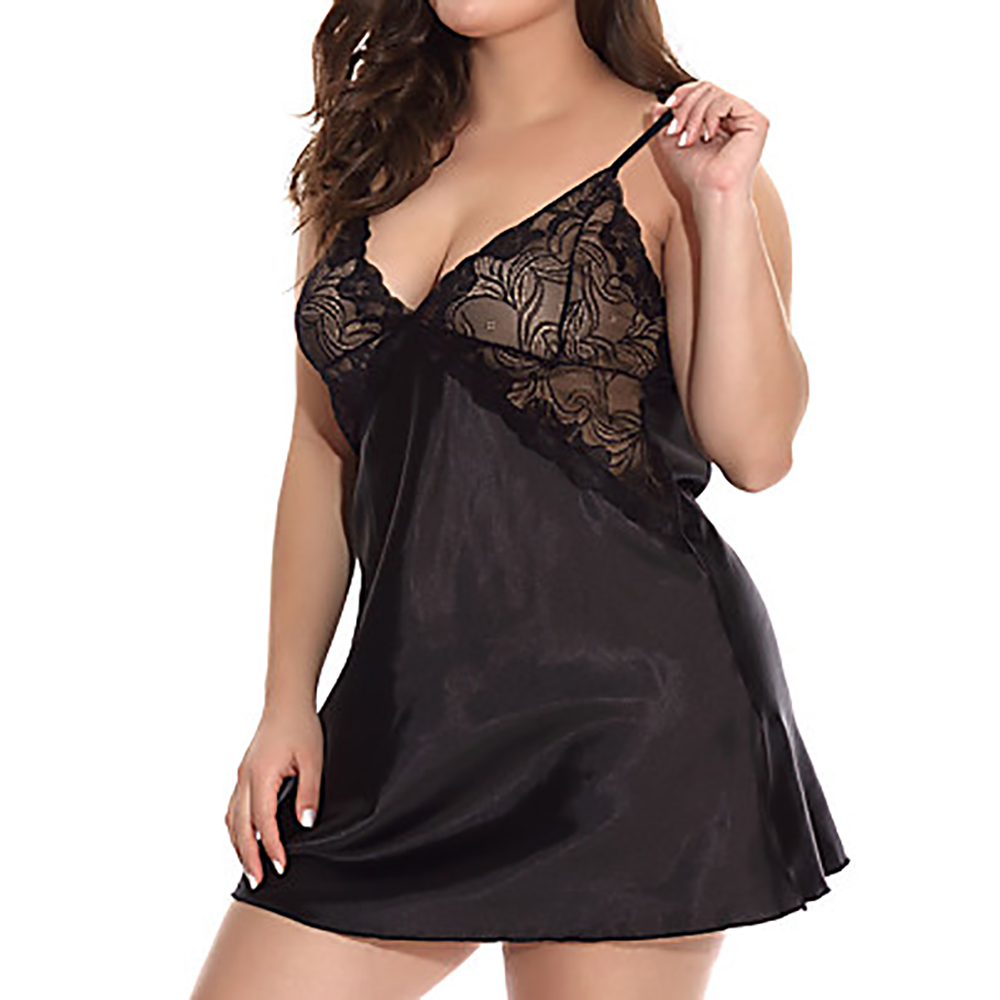 5XL Sexy Women Sleep Dress With G-String Female Deep V Lingerie Set Plus Size Erotic Costumes Hollow Out Underwear Babydoll 35 3