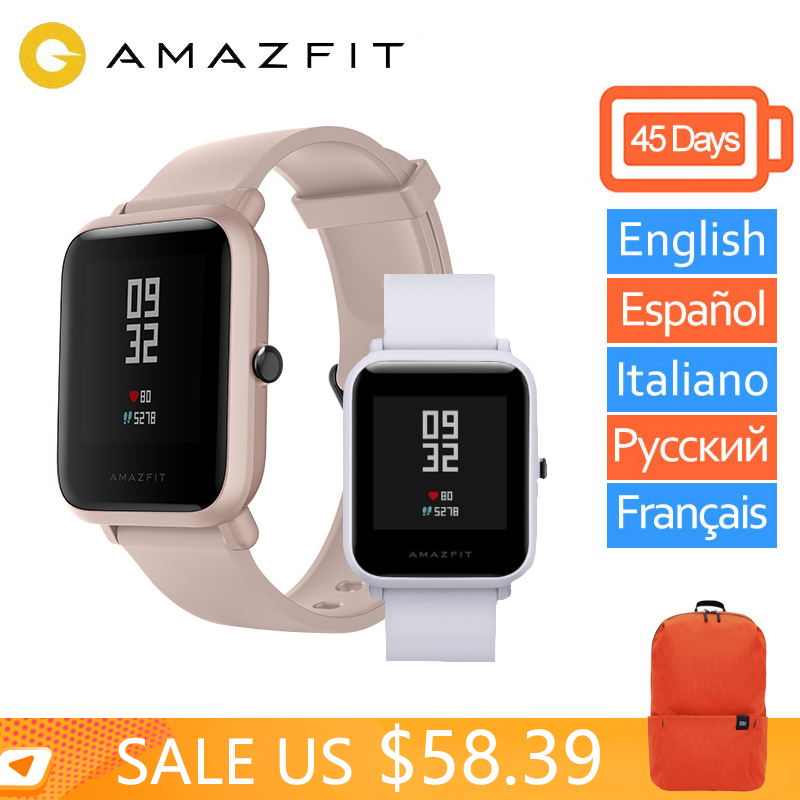 Global Version Amazfit bip Smart Watch Xiaomi Huami Amazfit Bip Lite Miband Pace Lite GPS Gloness Smartwatch Heart Rate-in Smart Watches from Consumer Electronics    1