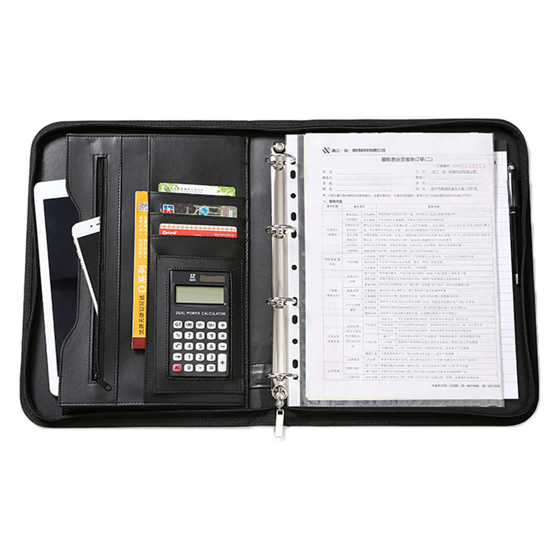 A4 File Organizer Portfolio Folder Document Bag Business PU Leather Multi-function Notepad Card Slot Binder Folder Calculator