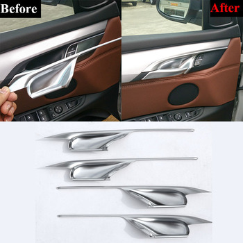 Car Accessories 4 Pieces Silver and Black Interior Door Handle Bowl Cover Trim For BMW X5 F15 & X6 F16 2014-2018