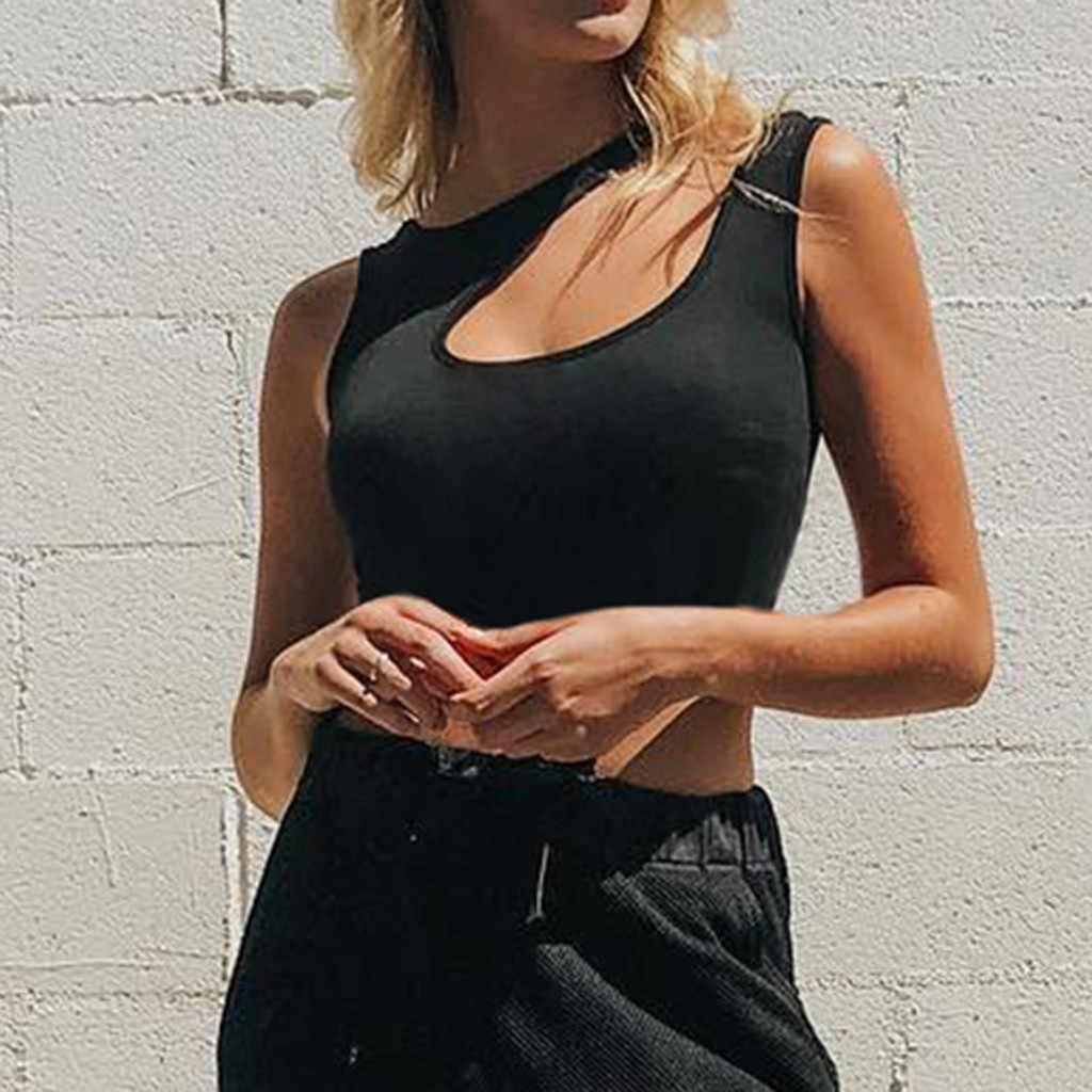 15# 2019 Summer Crop Tops Blusa Women Sleeveless Sexy Bandage T Shirt Top Fashion Black Lace Up Tank Top Tumblr Ladies