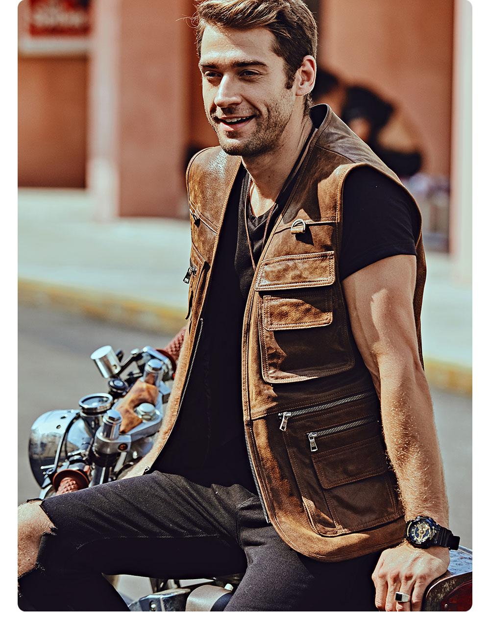 Hb23563582df74b168be034c57c87a5afy FLAVOR New Men's Real Leather Vest Men's Motorcycle Fishing Outdoor Travel Vests