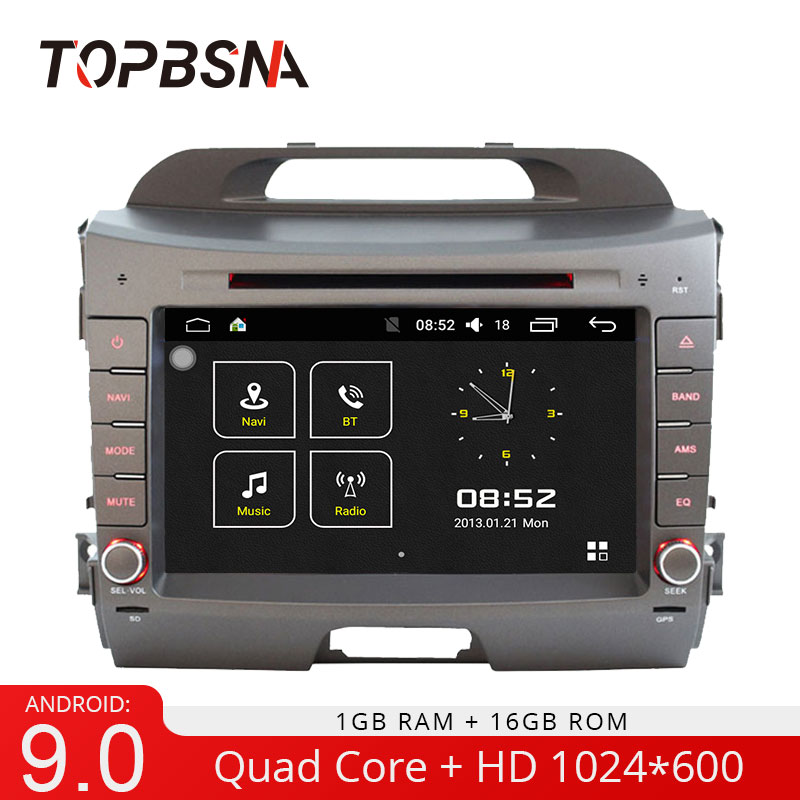 TOPBSNA Android 9.0 Lecteur DVD de voiture pour Kia sportage 2010 2011 2012 2013 2014 2015 Navigation GPS Autoradio 2 din Stéréo WIFI USB