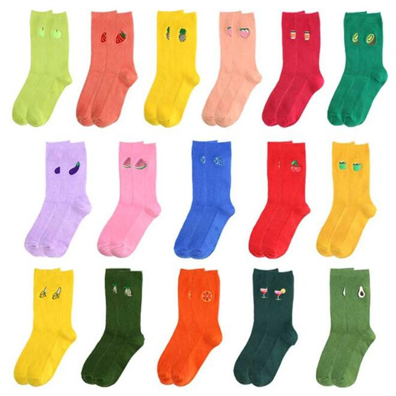 Funny Cartoon Fruits Socks  Avocado Banana Cherry Peach Girls Kawaii Socks Meias Korean Harajuku Embroidery Long Colorful Socks