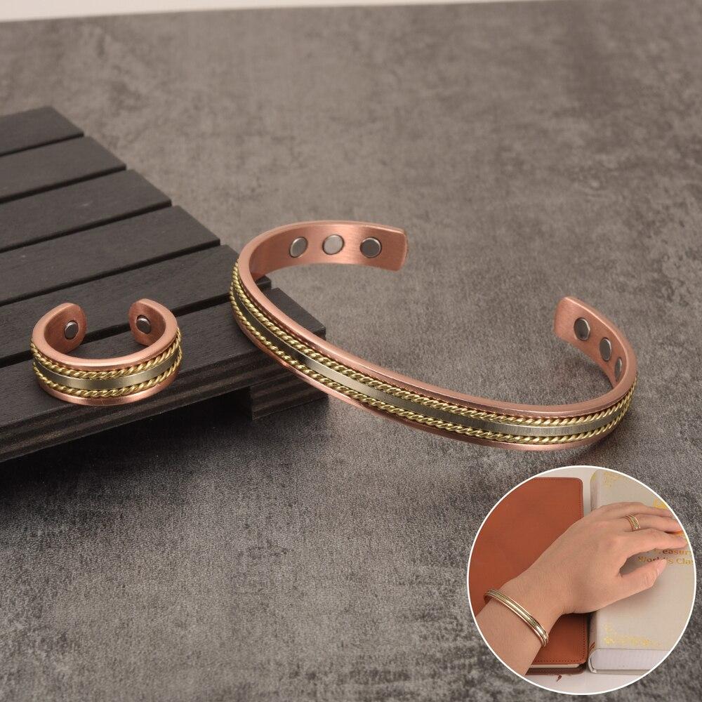 Ensemble de bijoux pour femmes, Bracelet en cuivre magnétique, énergie de guérison, Bracelet de manchette, ajustable Rose or