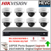 Hikvision DS 2CD2185FWD I Video Surveilance 8MP H.265 Network Dome Camera +Hikvision NVR DS 7616NI K2/16P 16CH 16 POE ports