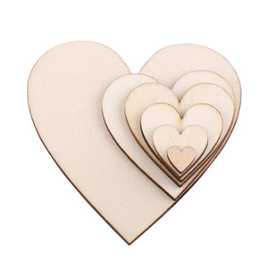8 Sizes 20/50/80mm Blank Heart Wood Slices Discs for Wedding DIY Crafts Embellishments Christmas Decoration(Wood Color)