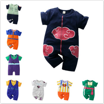 Summer Cartoon Anime Naruto Style Newborn Baby Boys Rompers Cotton Short Sleeve Clothes Baby Jumpsuits Infant Cosplay Costumes image
