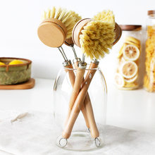 Wooden Pan Pot Brush With Natural Beech Wood Long Handle For Washing Dishes Pots Pans Ktichen Tools Household Sisal Brush Plate