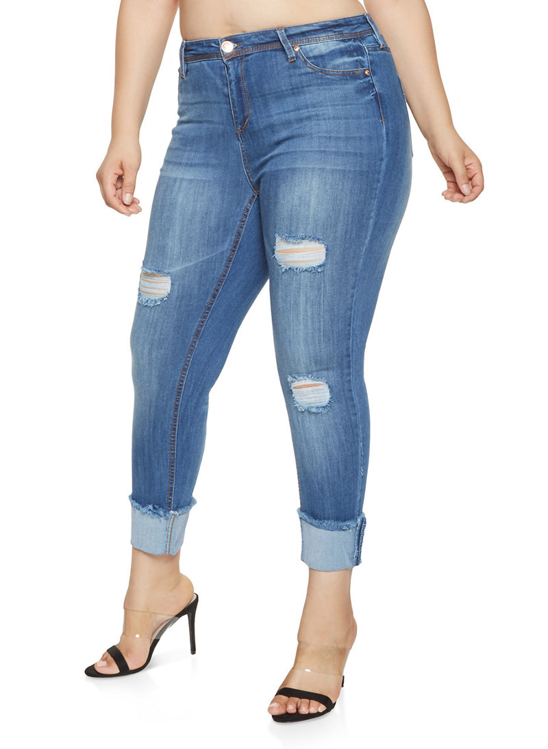 Europe And America 2019 Spring Online Celebrity Slim Fit With Holes Plus-sized Skinny Jeans Children
