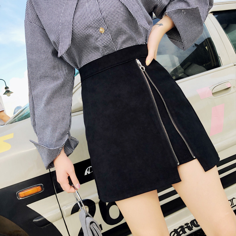 2019 Autumn Winter New Women's High Waist A-line Skirt Woolen Fabric Tight Hip Short Skirt Irregular Zipper Design Skirts ML319