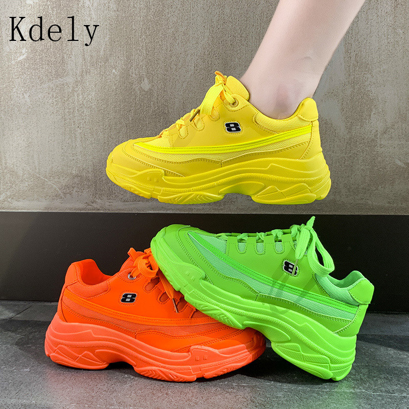 New Designer Sneakers Women Platform Casual Shoes 2019 Fashion White Sneakers Platform Basket Femme Yellow Bling Casual Chunky