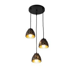 Image 3 - 3 teste di alloggiamento nero HA CONDOTTO LA Luce di Soffitto di Luce sala da pranzo 3pcs lampadina del Soffitto della lampada di Illuminazione A sospensione per Soggiorno luce apparecchi di