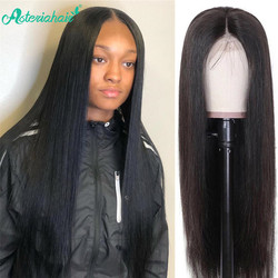 Asteria Hair-pelucas de cabello humano con cierre de encaje, para mujeres negras, cabello humano liso brasileño, postizo de pelo Remy de alta relación