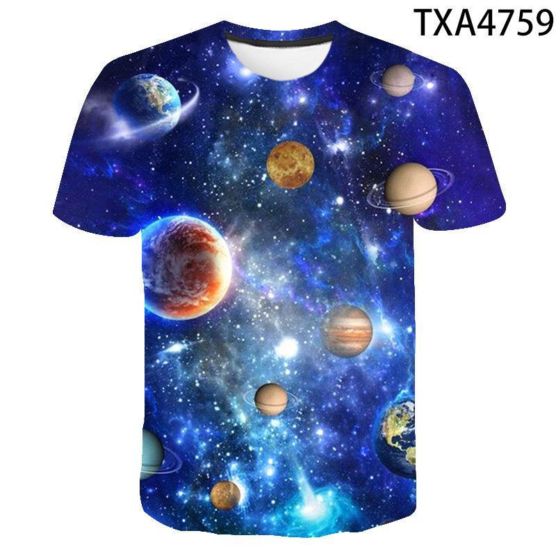 Футболка для мальчиков и девочек, крутая тенниска с 3D принтом Вселенной, планеты, космоса, галактики, модная уличная одежда для мужчин и женщ...