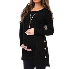 Топ для кормящих женщин; сезон зима-осень; Однотонная футболка с длинным рукавом на пуговицах; элегантная повседневная одежда для беременных; Embarazada 19Ag