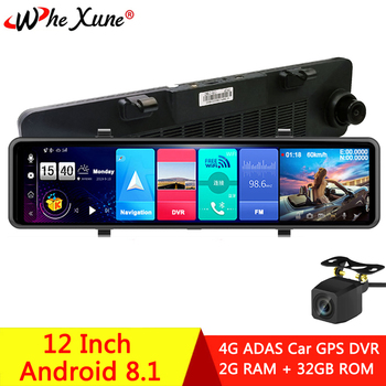 WHEXUNE 2020New Android 8.1 Full HD 1080P 12 Inch Touch IPS Car DVR with GPS Navigation WIFI Bluetooth ADAS Google play Dash Cam image