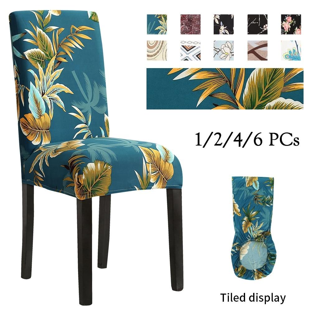 1/2/4/6 adet Spandex sandalye kılıfı evrensel çiçek baskılı streç Slipcover sandalye koruma kapağı ziyafet düğün için yemek odası