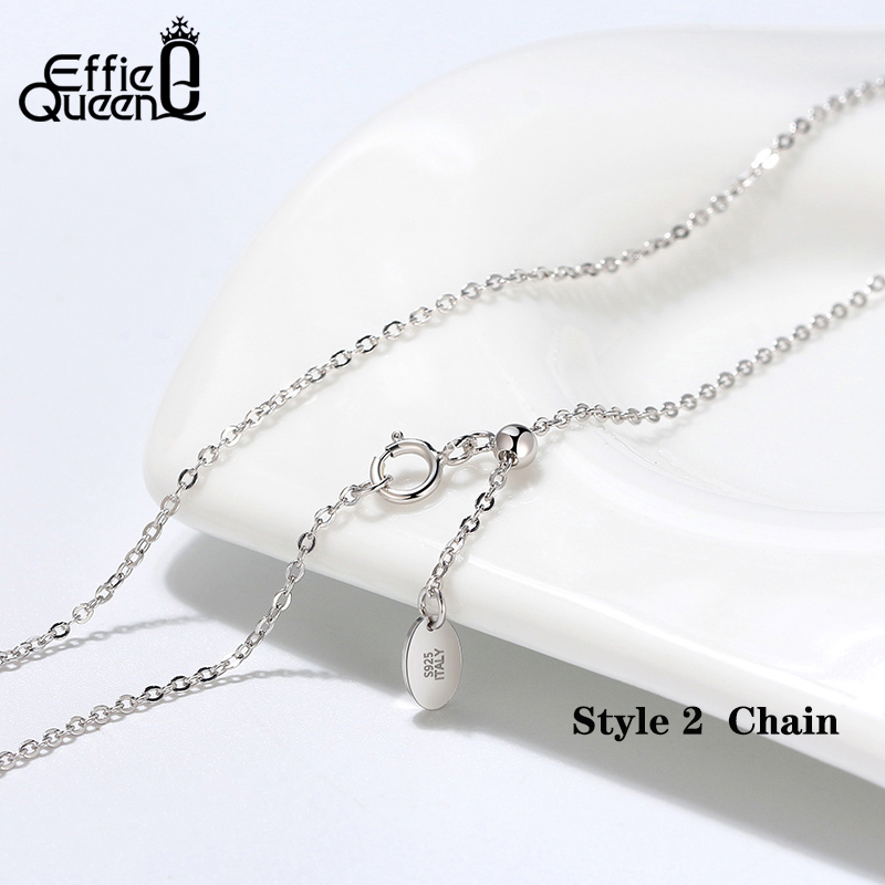 Effie Queen Real 925 Silver Adjustable Chain Necklace 18inch 45cm Length Basic Chain Silver Necklace for Pendant Jewelry DSC07-D