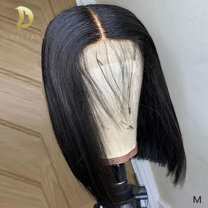 Wigs Closure Short Human-Hair Lace Black Straight Women Brazilian Remy for Bob 4x4 Pre-Plucked