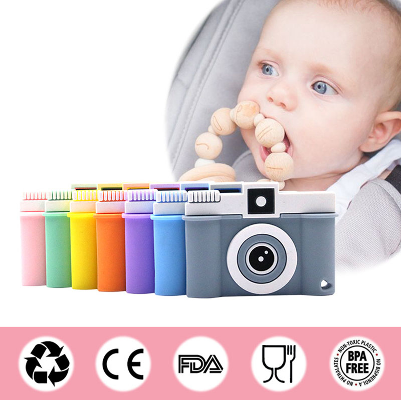 Tiny Rod Silicone Cartoon Camera Shape 1pc Teething Toy BPA Free Silicone Teethers Food Grade DIY Nursing Necklace Baby Teethers in Baby Teethers from Mother Kids