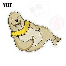 YJZT 11.8CM*15.5CM Funny Dolphin Animal PVC Car Sticker Automotive Prod