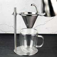 With Filter Freestanding Adjustable Height Bar Household Durable Round Base Stainless Steel Countertop Coffee Dripper Stand