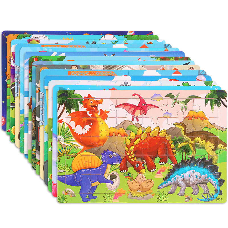 New 30 Pieces Wooden Toy Jigsaw Puzzle Wood Cartoon Animal Vehicle Kid Early Learning Baby Educational Toys for Children Puzzles 2