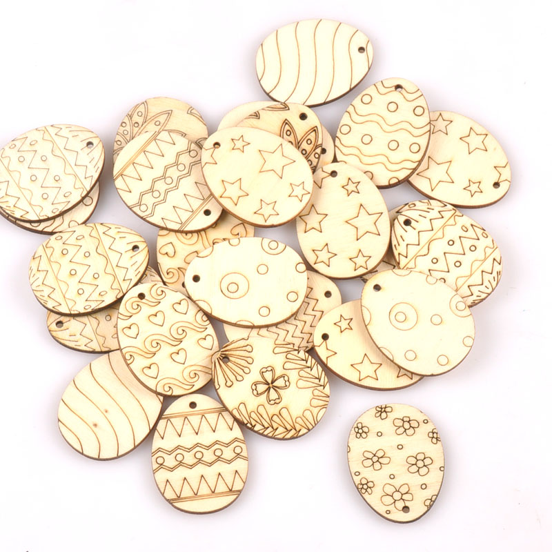 25Pcs Mixed Easter Egg Wood Crafts Pendant For Wooden Drop Hanging Ornaments DIY Scrapbook Home Decor Embellishments M2565