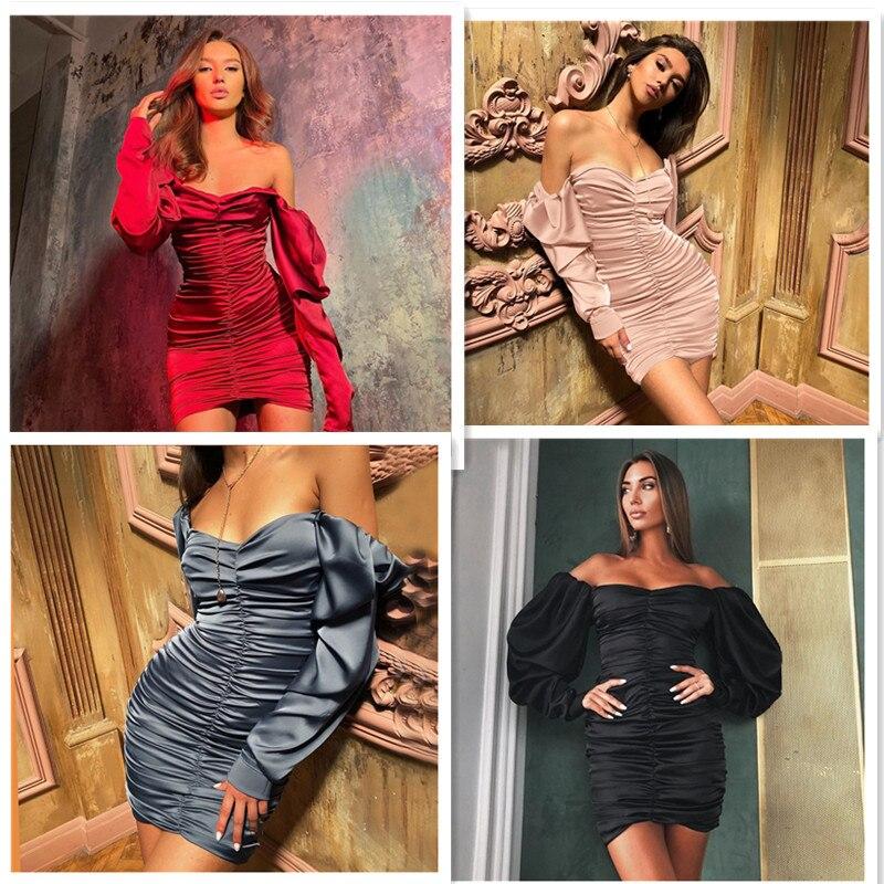 RICORIT Women Sexy Bodycon Dress Pure V Neck Off Shoulder Lantern Sleeve Dress Party Night Elegant Midi Dress Mujer Black Dress 4