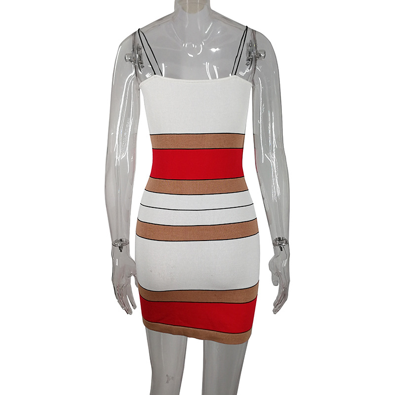 Stripe Spaghetti Strap Female Boho Dresses Autumn 2019 Casual Elegant Backless Slash Neck Dress For Women Sexy Fashion Dresses in Dresses from Women 39 s Clothing