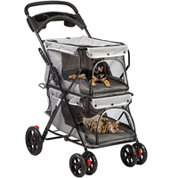 Grey-Double Pet Stroller for 2 Dogs Cats Folding Portable Carrier Cag