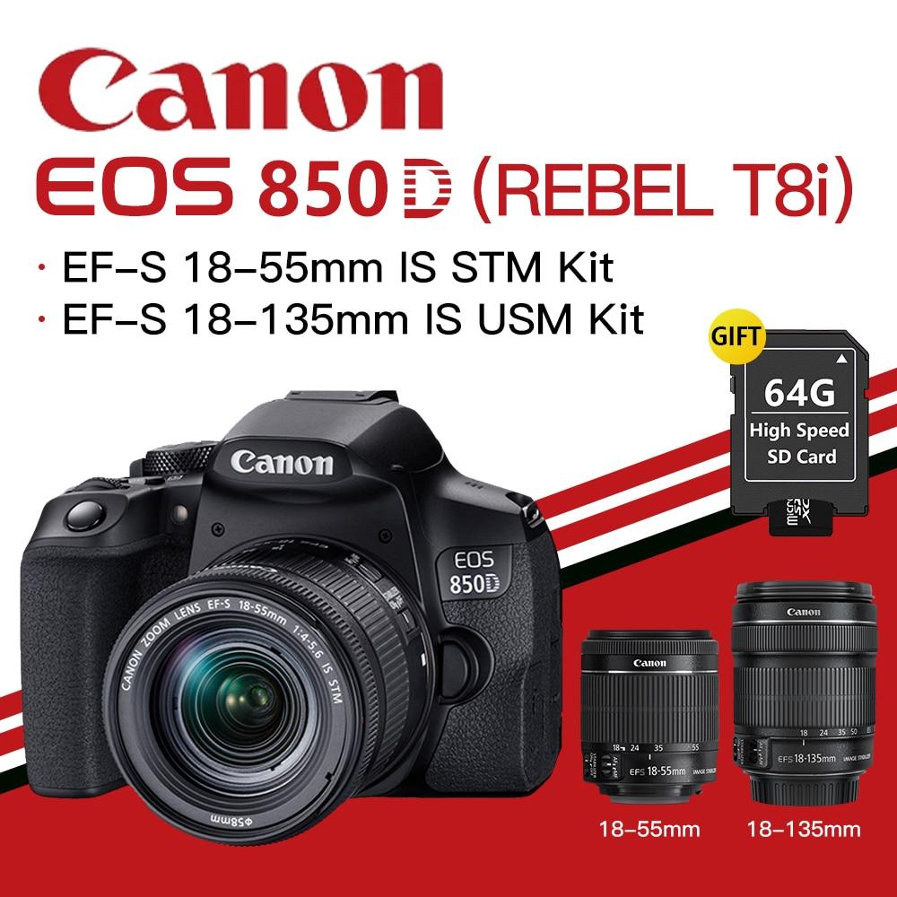 Canon EOS 850D(REBEL T8i)DSLR BODY EF-S 18-55mm IS STM / 18-135mm IS USM Lens Kit BLACK
