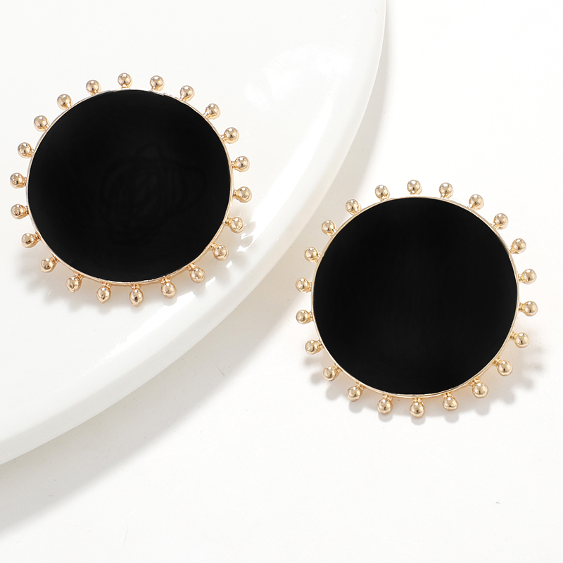 AENSOA Korean Black Enamel Big Round Alloy Stud Earrings For Women Sun Geometric Statement Earrings Fashion Jewelry Party Gift