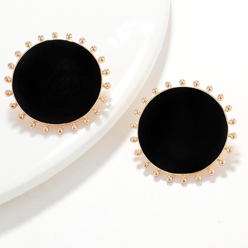 AENSOA Korean Black Enamel Big Round Alloy Stud Earrings For Women Sun Geometric Statement Earrings Fashion Jewelry Party Gift