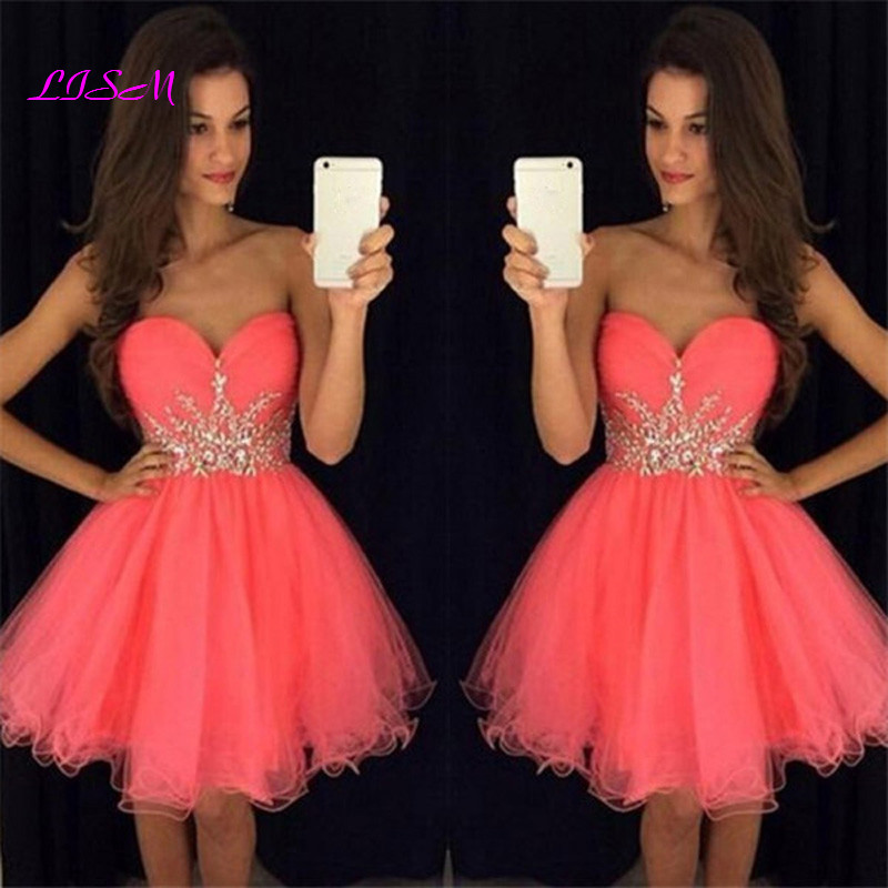 Homecoming Dresses A-Line Sweetheart Short Mini Organza Prom Party Gowns Beaded Crystals Elegant Cocktail Dress