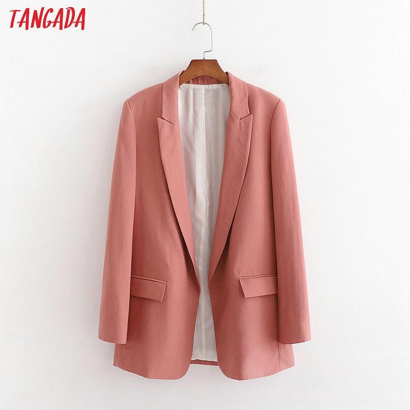 Tangada Women Vintage Solid Blazer 2020 Fashion Female Long Sleeve Elegant Jacket Ladies Work Wear Blazer Suits 1D205