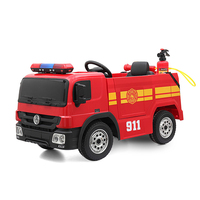 Kids Electric Powered Ride On Fire Engine With Remote Control Children Headlight Fire Truck Toys Baby Four Wheels Cars Toy T0871
