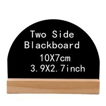 4pcs Mini Blackboard Wooden Paintboard Square Notice Boards Plinth for Arts Message Signs Shop Decoration