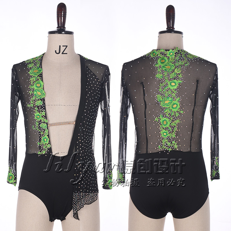 High Quality Green Embroidery Flower Latin Dance Top Men's Mesh Black Sparkly Rhinestones Shirt Tops Male Ballroom Latin Dress